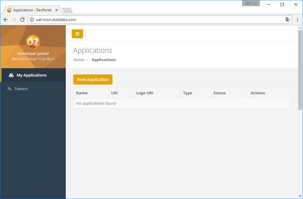 Na tela inicial do Developer Portal, clique em 'New Application'.