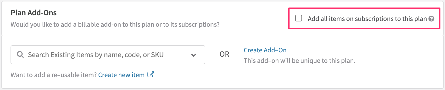 Allowing Subscription-Level Configuration of Item-Based Add-Ons