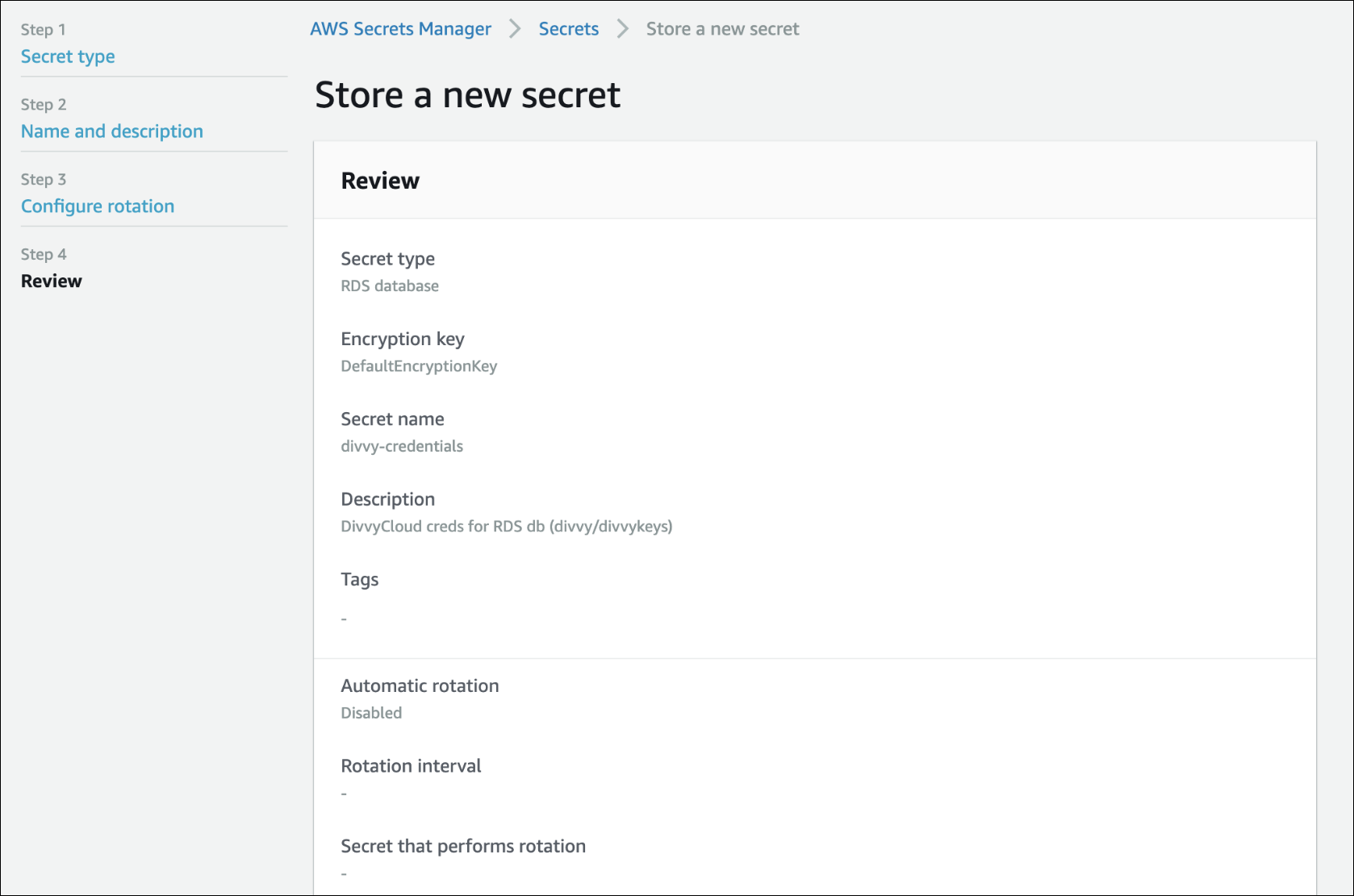 Store a new secret