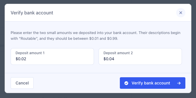 Verify bank account with any two values under $0.10 cents
