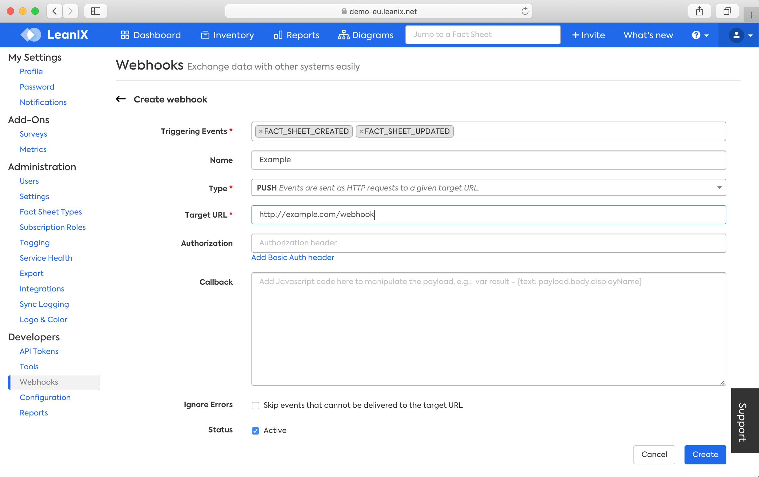 Configure a Webhook