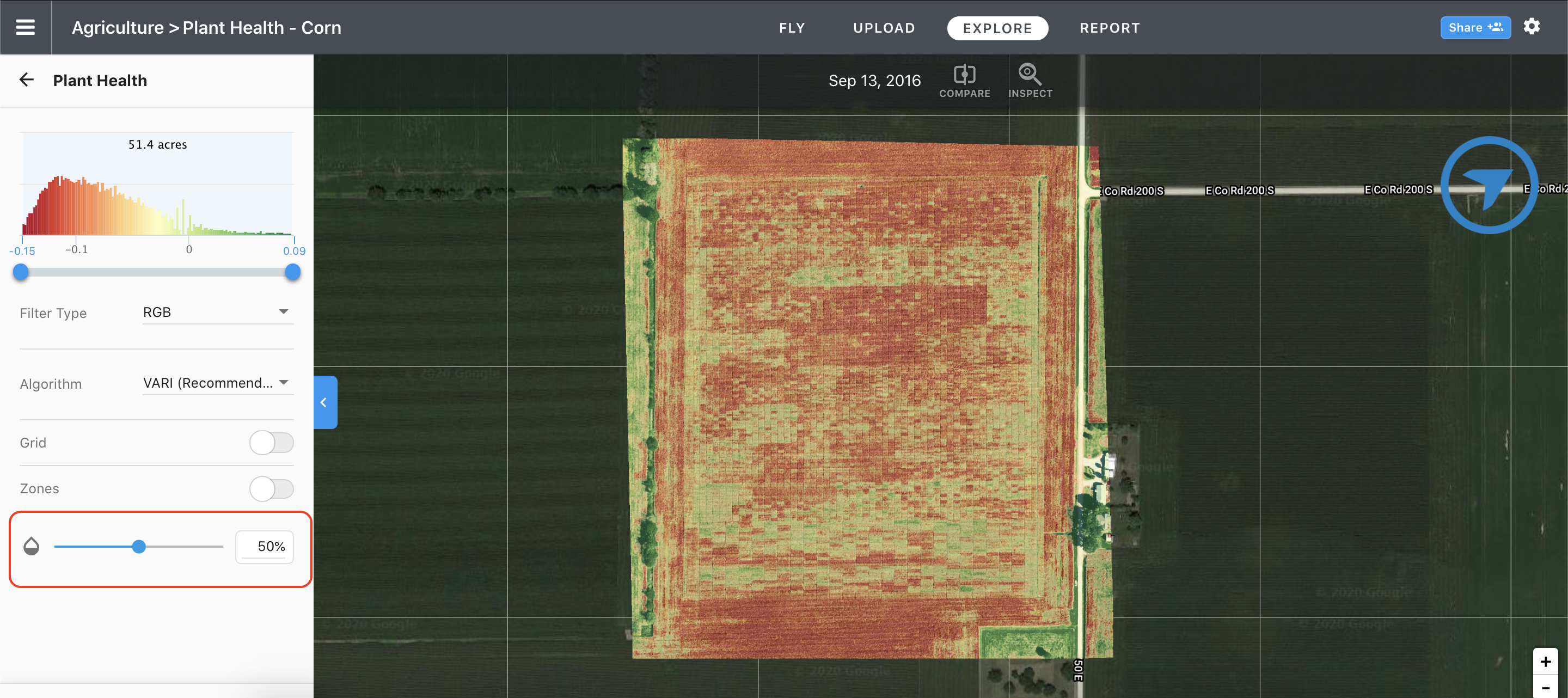 By using the opacity tool we are able to distinguish buildings from our fields.