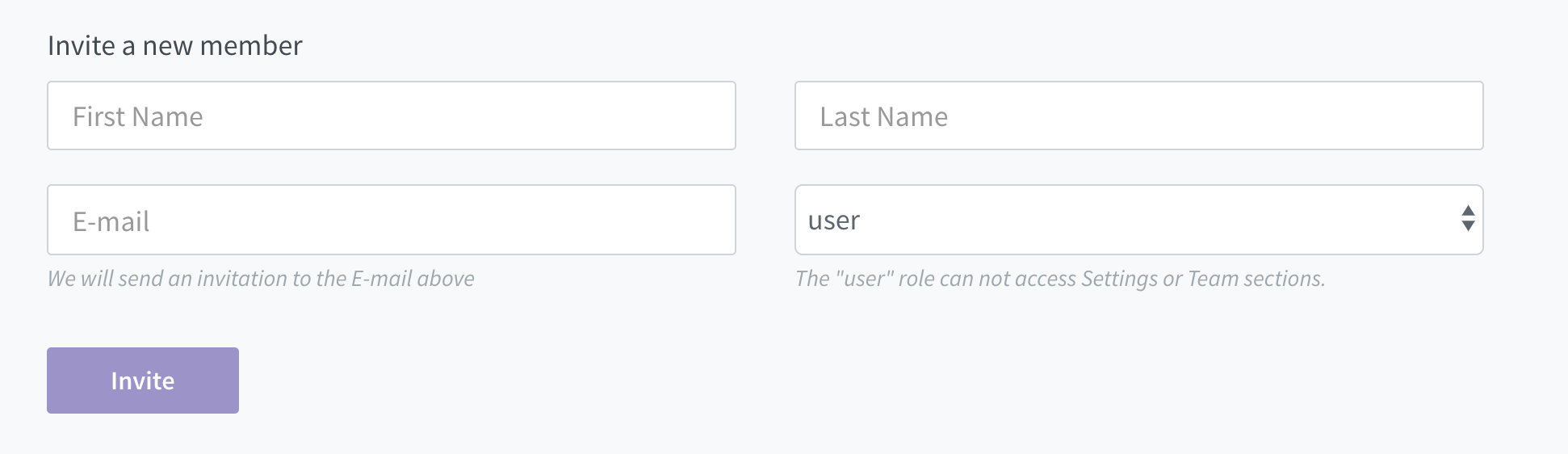 Use this form to invite additional members to the Castle Dashboard for your organization