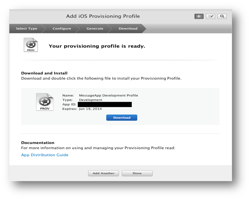 Downloading the provisioning profile