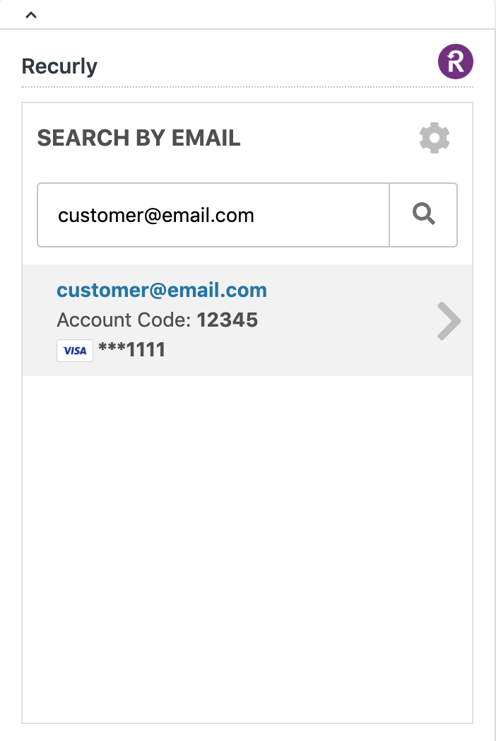 Use a customer's email address for their Recurly account to look up their account and subscriptions