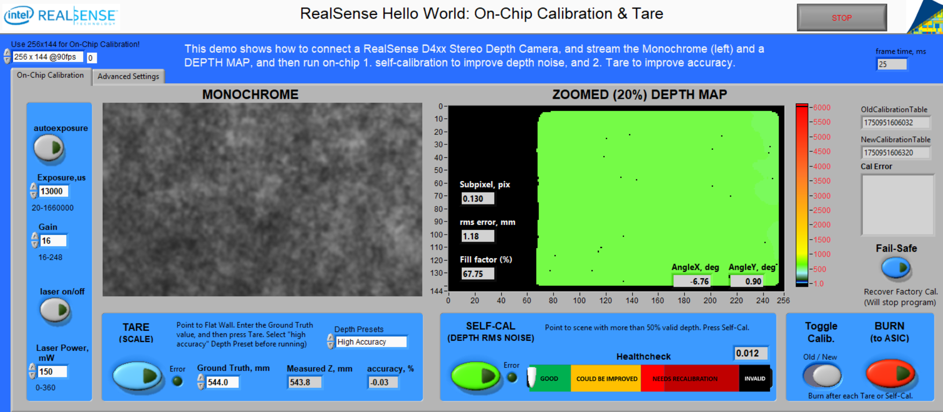 Fig 12: Hello World: On-Chip Calibration & Tare