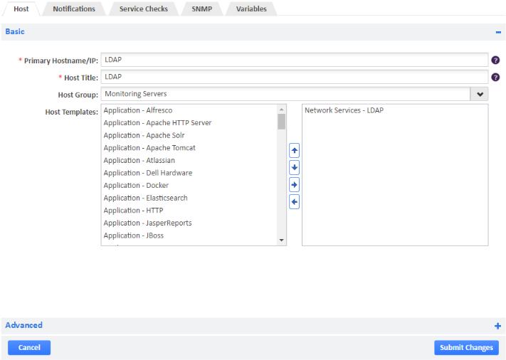 Example of Adding LDAP Host Template
