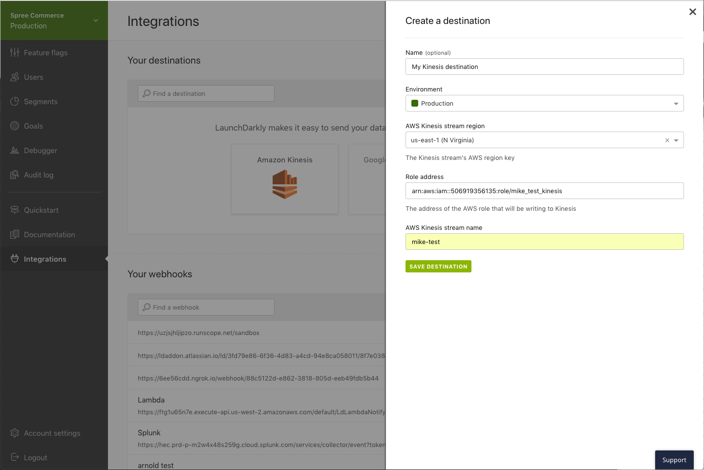 A Kinesis destination with AWS information, a name and environment selected.