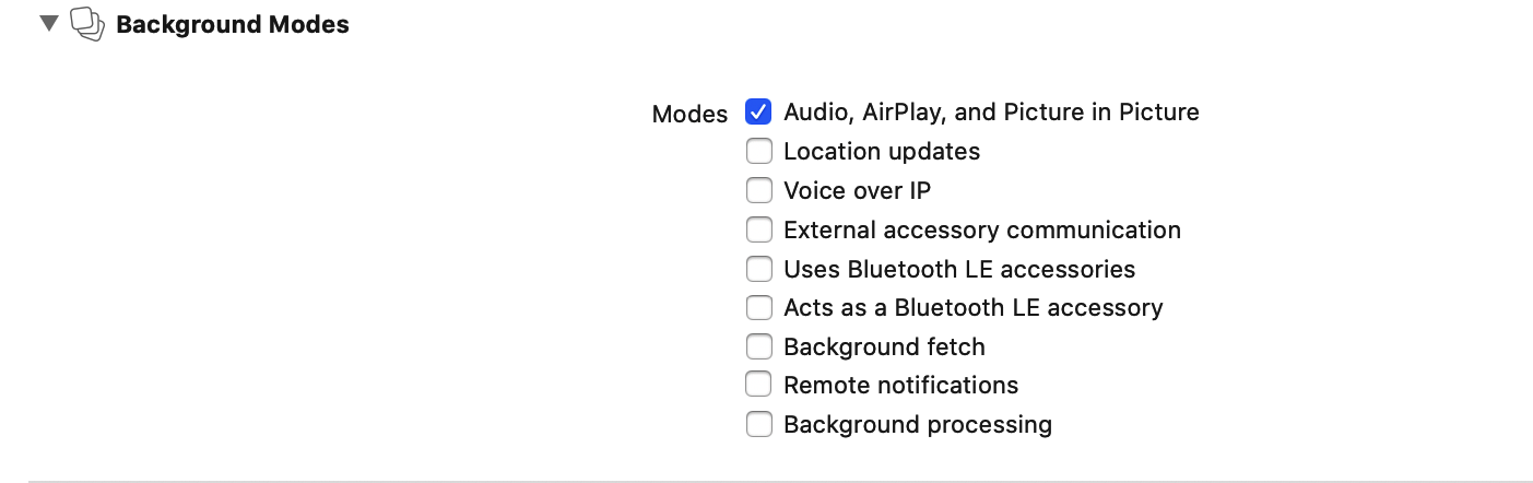 add permission for Audio, AirPlay and Picture in Picture ofr ios app
