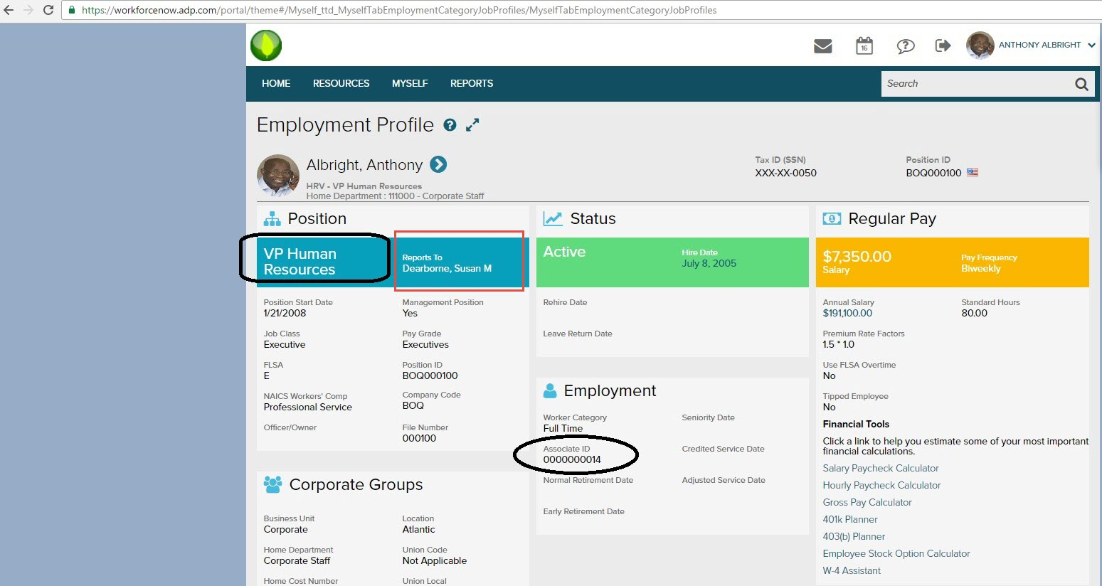 Areas where the Title, Manager, and Employee ID fields map in ADP