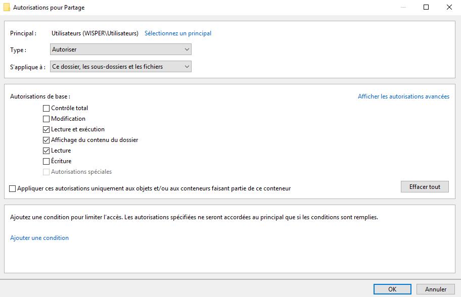"""Cliquer sur le groupe ou l'utilisateur voulu et """"Modifier"""""""