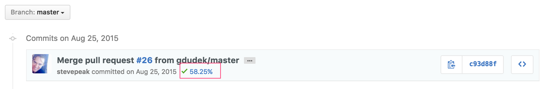 **List Commits** adding coverage of the commit next to the build status.