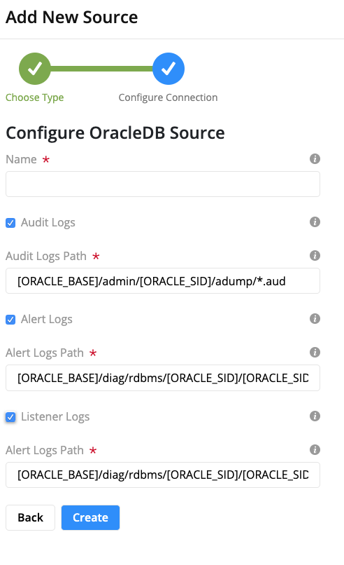 OracleDB Log Configuration Form