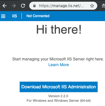 Microsoft IIS Administration install page