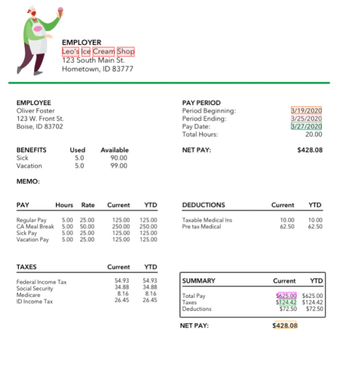 Pay Stub key data extraction