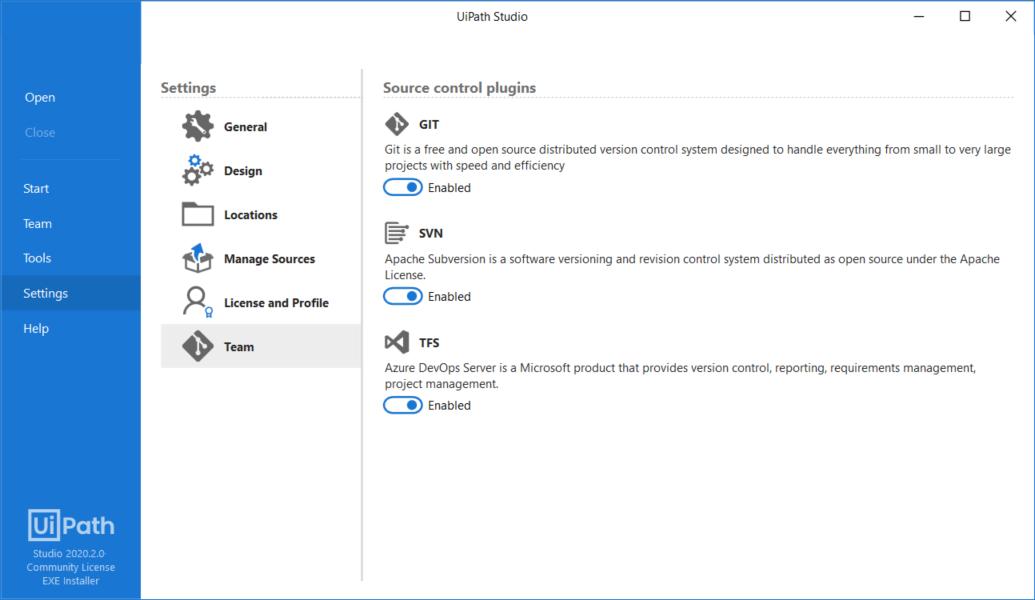 UiPath, GitHub, TFS and SVN