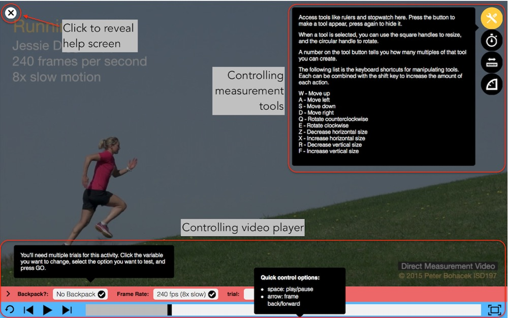 Clicking the ***i*** in the upper left of the video screen will reveal instructions for all Pivot Player functions.