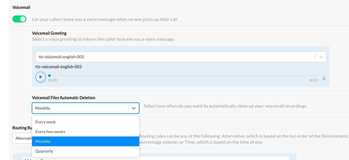 Voicemail Files Automatic Deletion