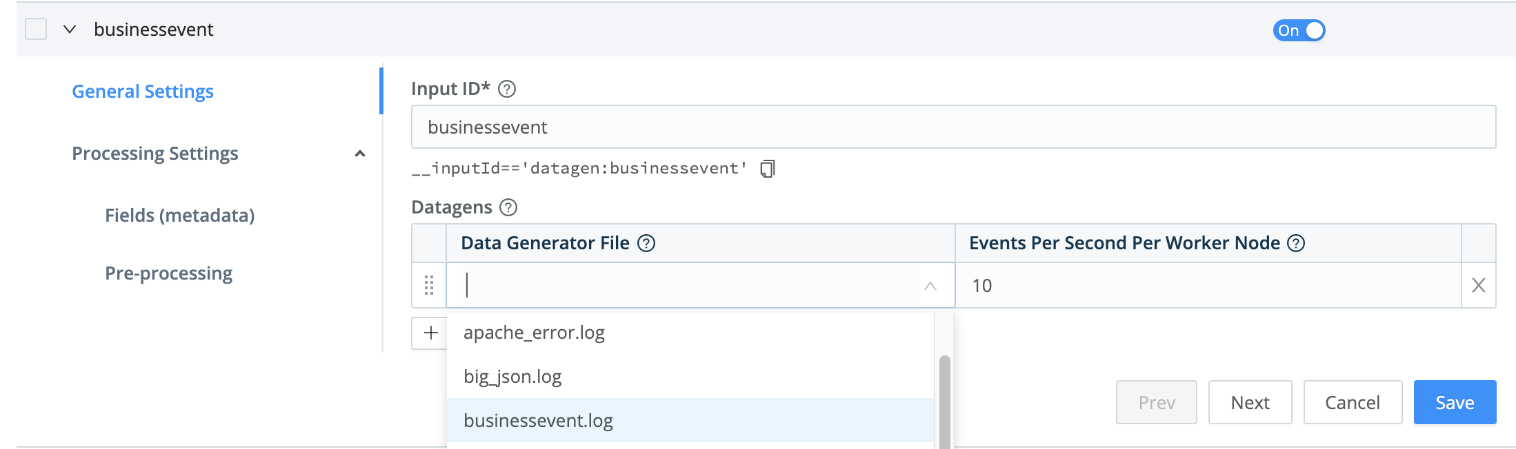 Configuring a datagen Source
