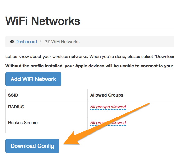 WiFi Networks config page