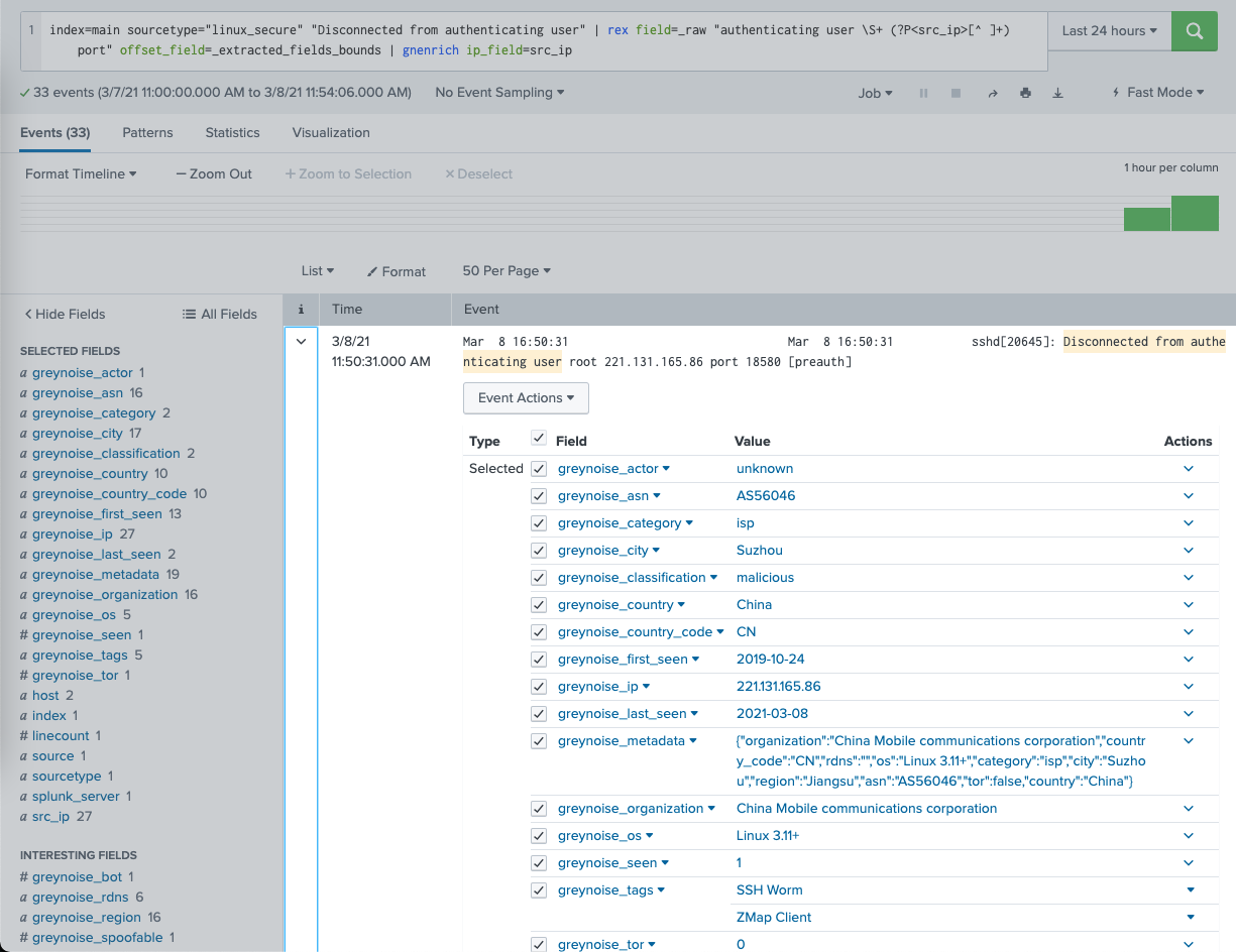 Enrich events in Splunk to limit events from creating unnecessary alerts