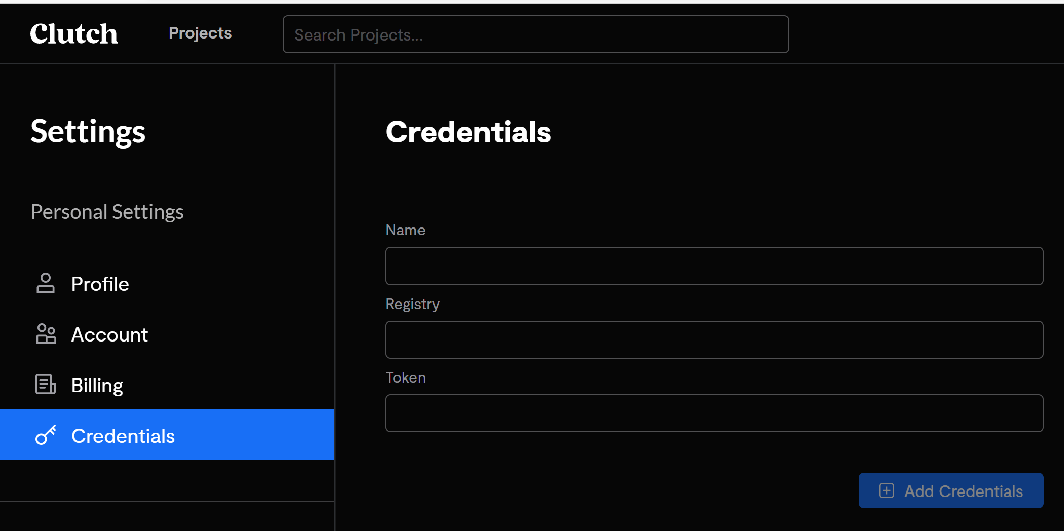 The credentials section of the user setting screen.