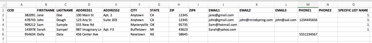 Required file format for PII-based data