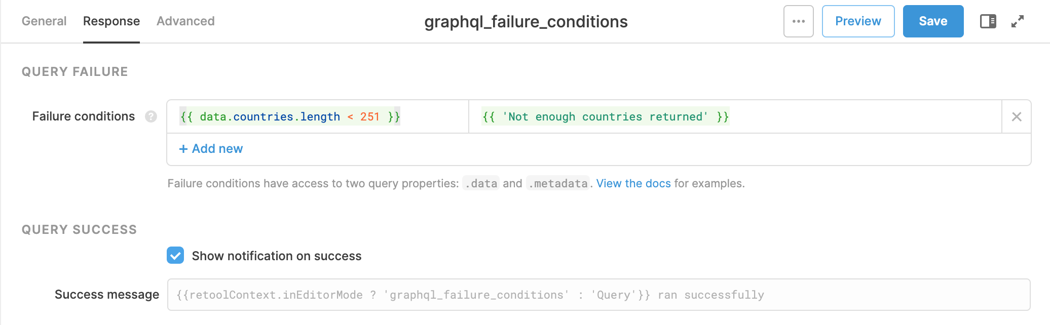 Example: This query will fail when the number of countries returned is fewer than 251.