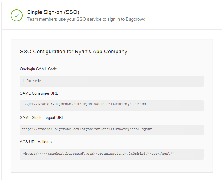 Single Sign-on configuration for your company