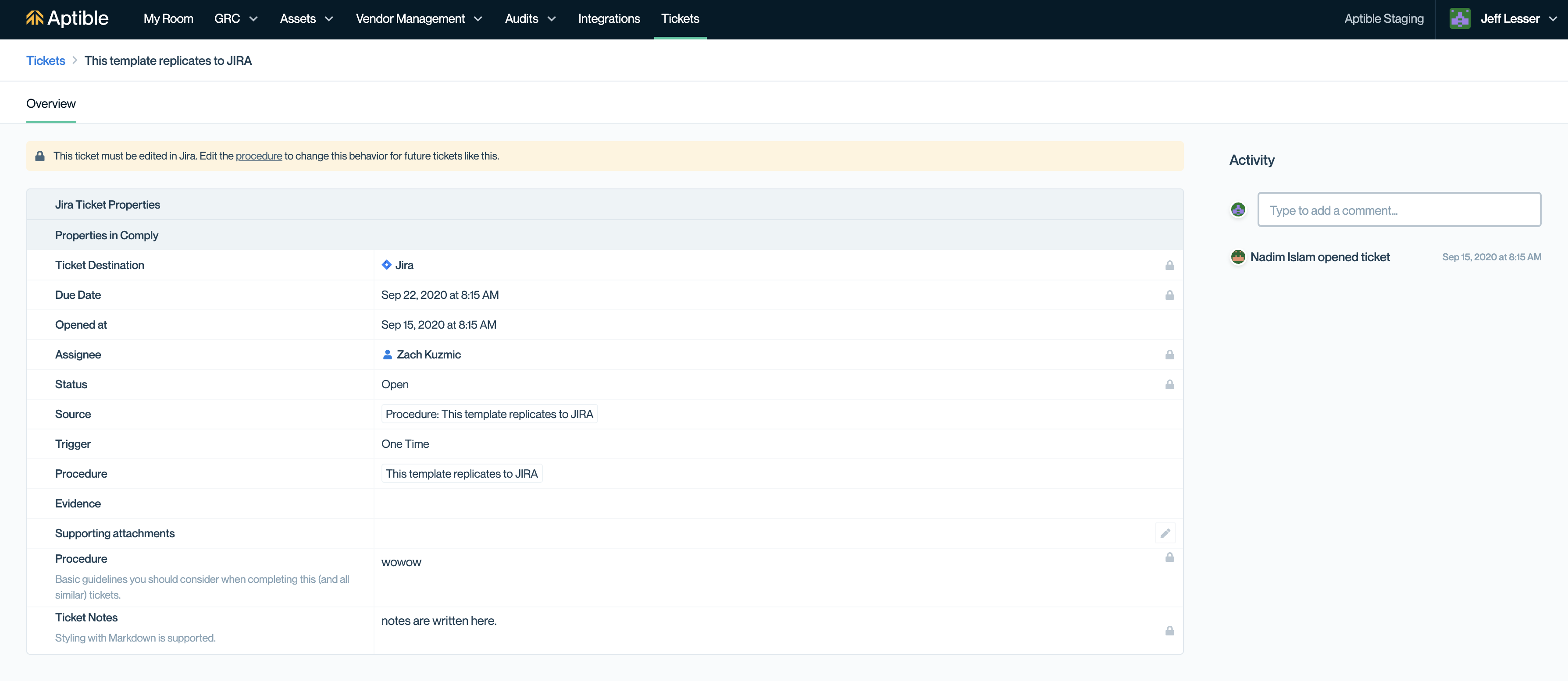 A ticket synced to Jira in Comply.