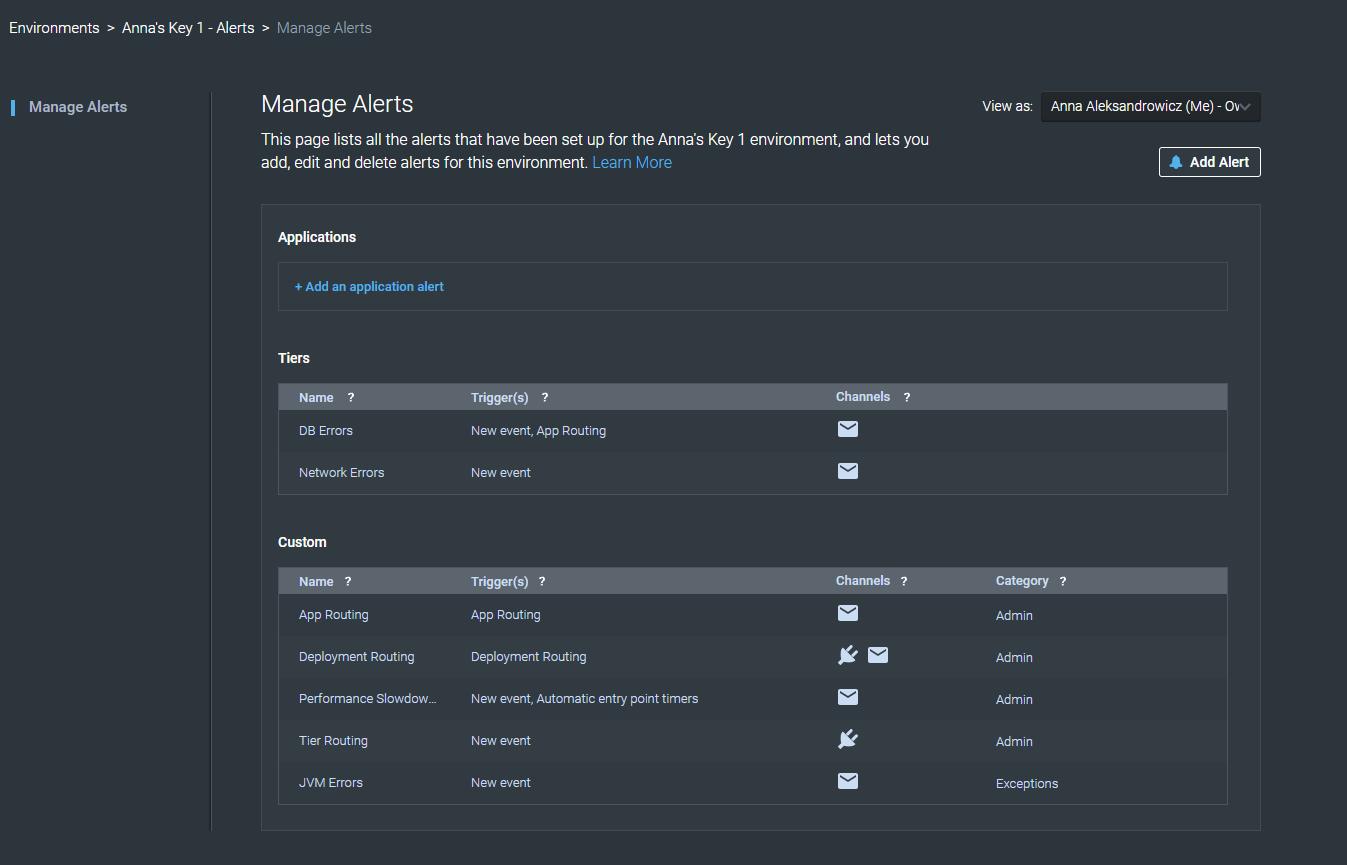 Manage Alerts Dashboard