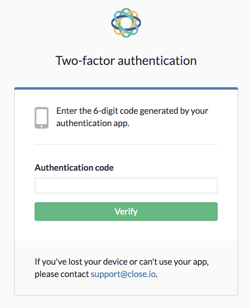 Prompt to enter your 6-digit authentication code