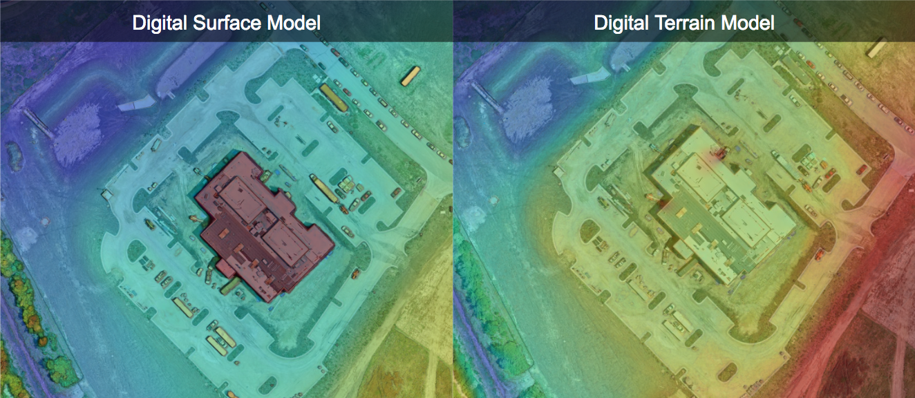 A comparison of the elevation of the Digital Surface Model which takes into account buildings, trees and equipment vs. our Digital Terrain Model which allows viewers to view the elevation omitting these objects.
