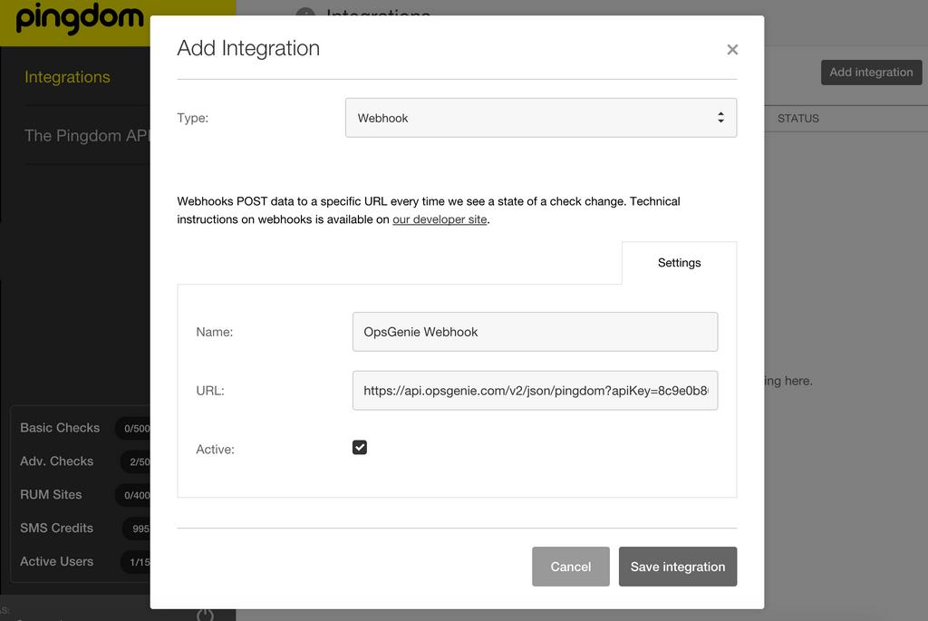 click save integration