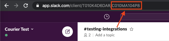 Locating the channel in the Slack web client.