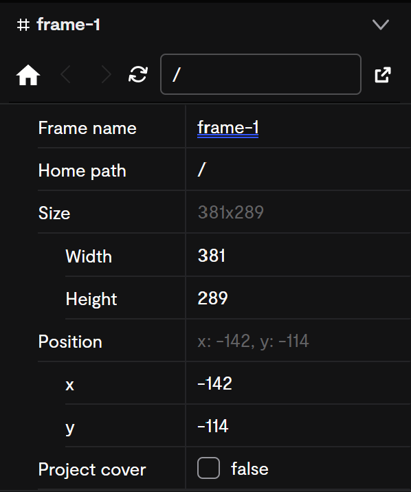 A full view of the frame properties.