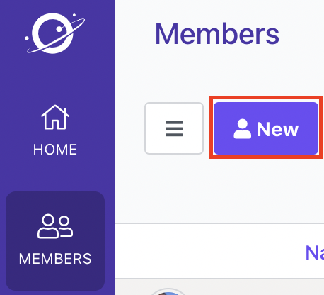 The New button from the Members page is outlined.