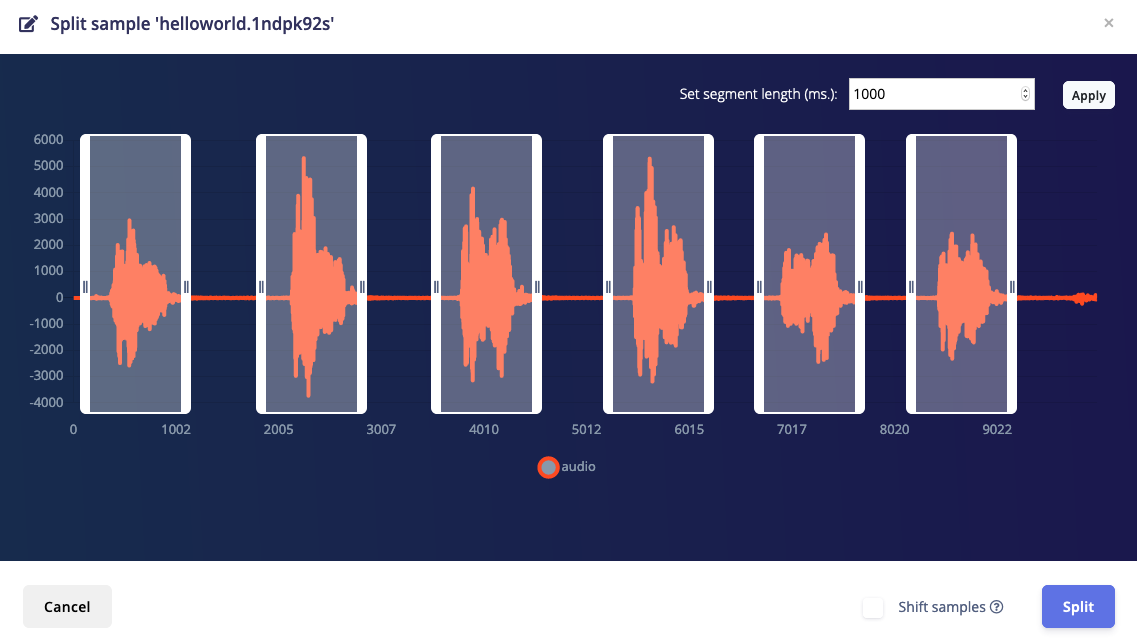 'Split sample' automatically cuts out the interesting parts of an audio file.