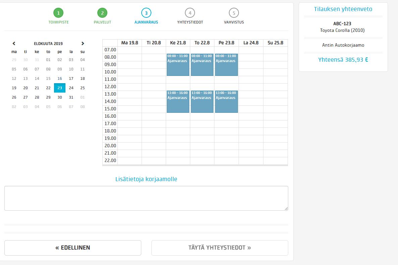 Kalenterissa näytetään asiakkaalle vapaat ajankohdat, joista hän voi valita itselleen sopivan. Kalenteriasetuksilla voit vaikuttaa monipuolisesti siihen mitä aikoja asiakas pystyy varaamaan. Asiakas voi kirjoittaa varaukselle lisätietoja mahdollisista lisäselvitystarpeista. Näet nämä työmääräyksellä ja tarvittaessa kontaktoit asiakkaan.