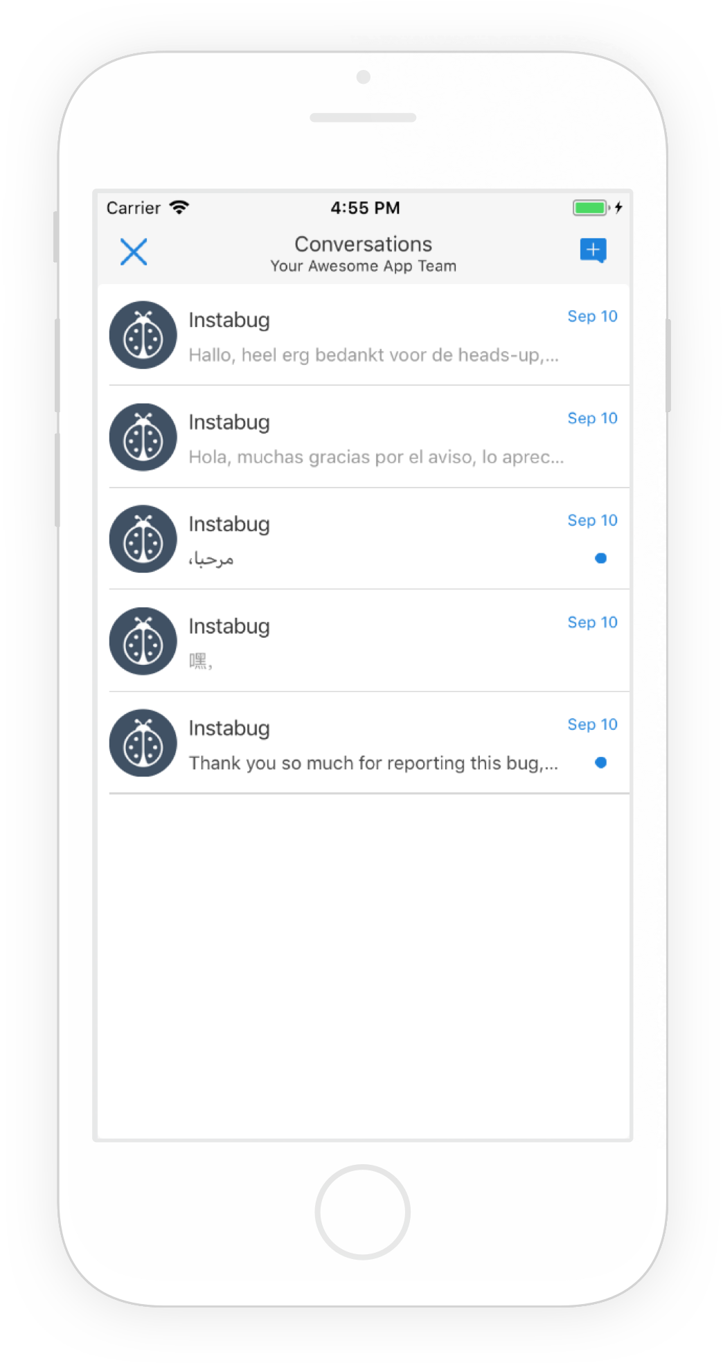 An example of the conversations page that your users see inside your app.