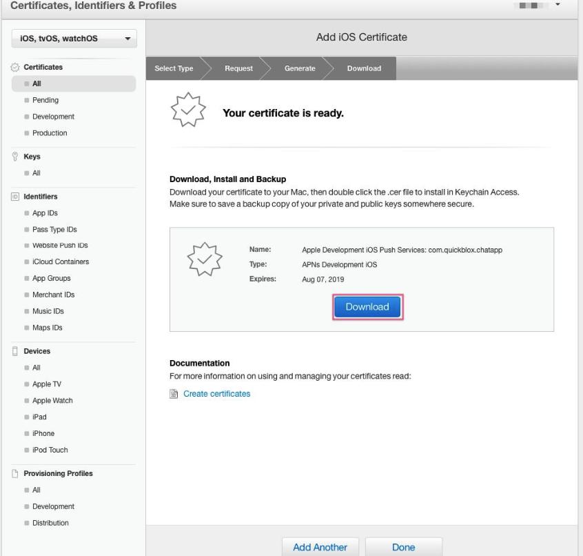 download universal apns sertificate for ios app