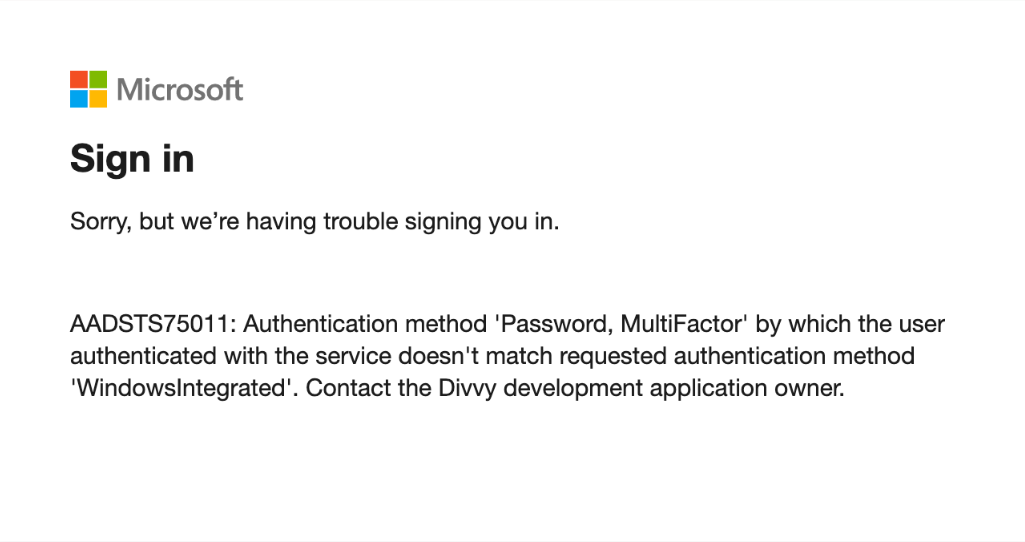 Requested Authentication Context Error