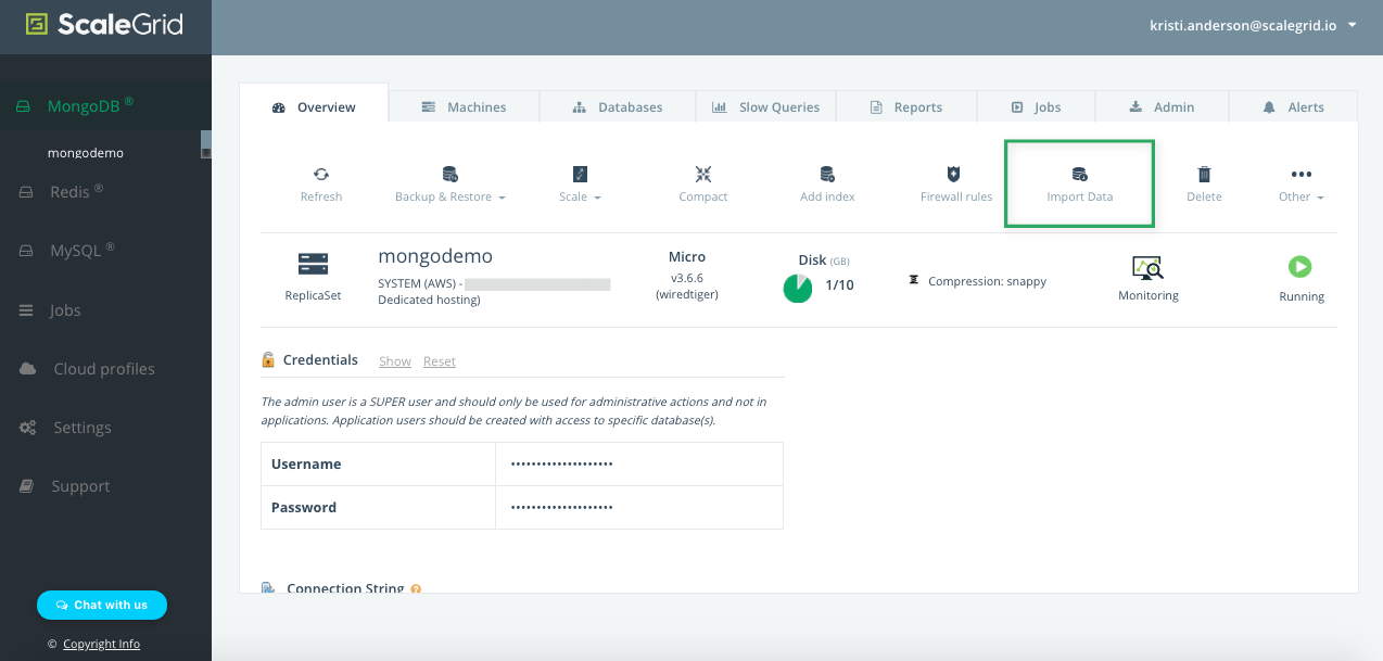 Find your Import Data button on your MongoDB cluster details page.