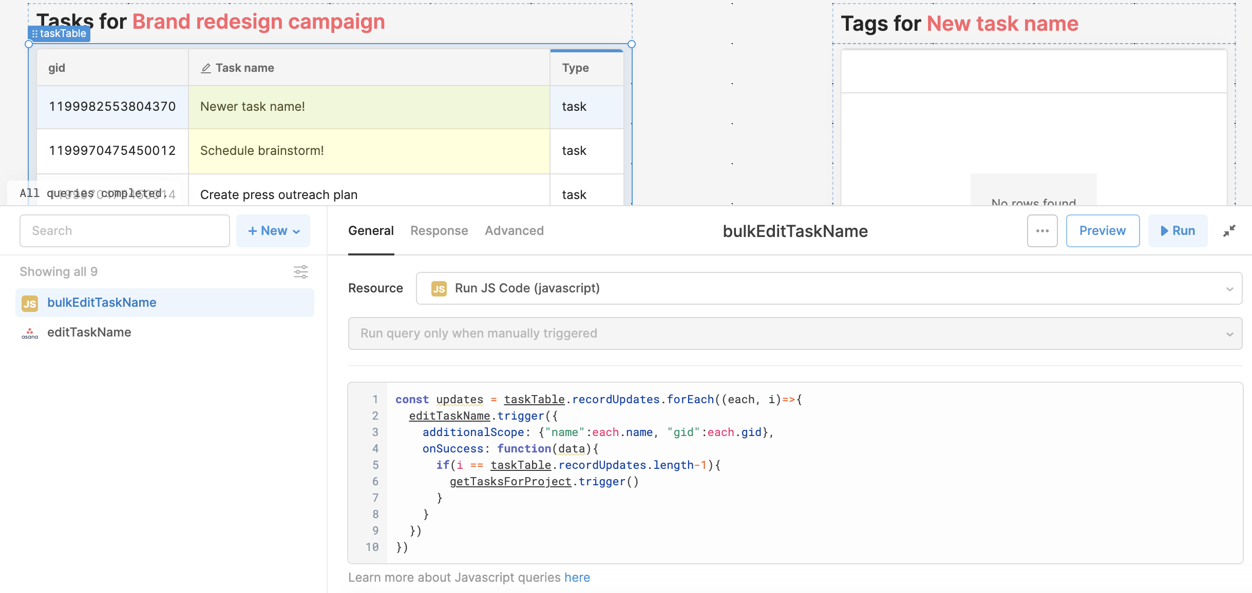 JS query to trigger the `editTaskName` query, with the name and gid passed in for each row.