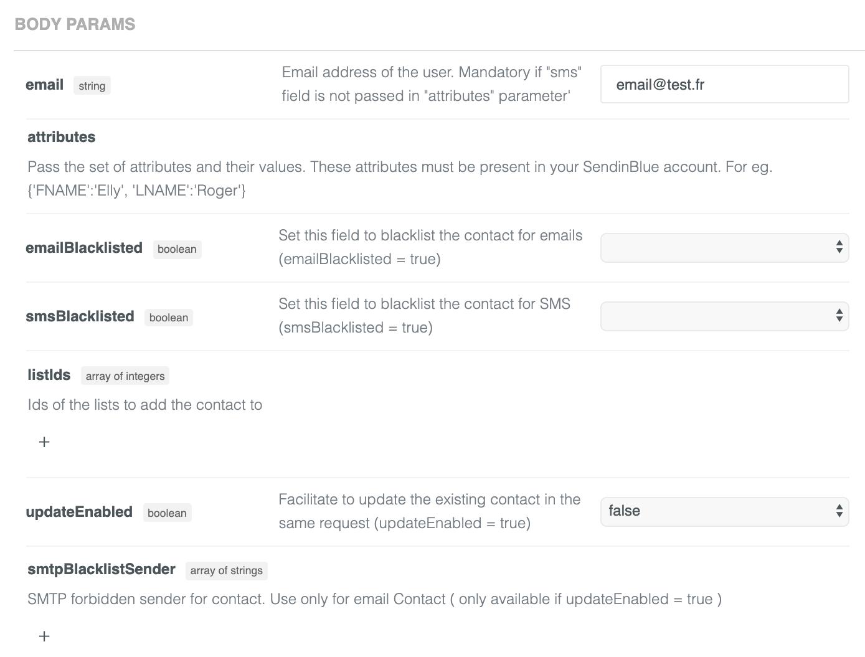 Sendinblue API body parameters to create a contact