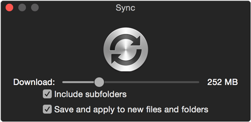 Use the slider bar to determine what files of a certain size or smaller to download