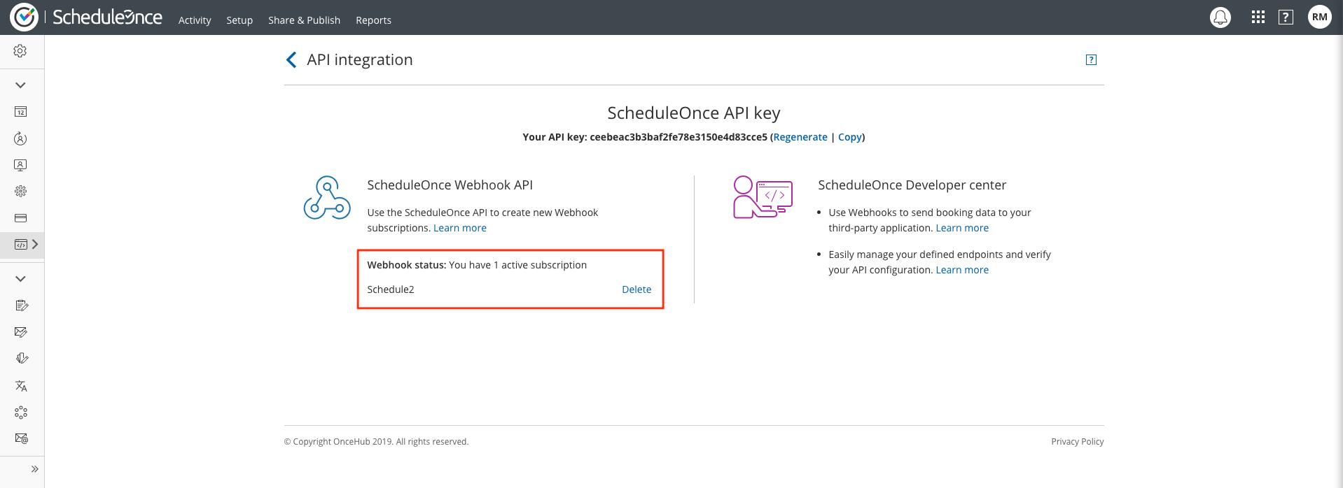 Figure 1: API integration - Webhook subscription list