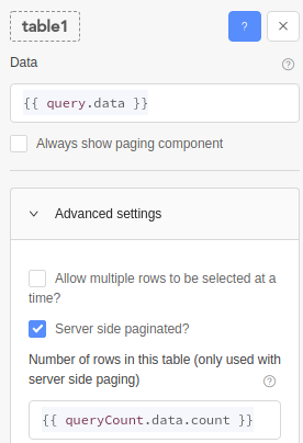 Enable the 'Server side paginated?' checkbox and create two queries.