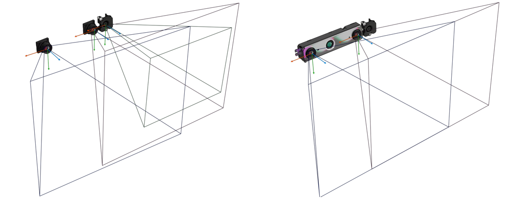 Figure 7. Unrectified (left) and rectified (right) camera views