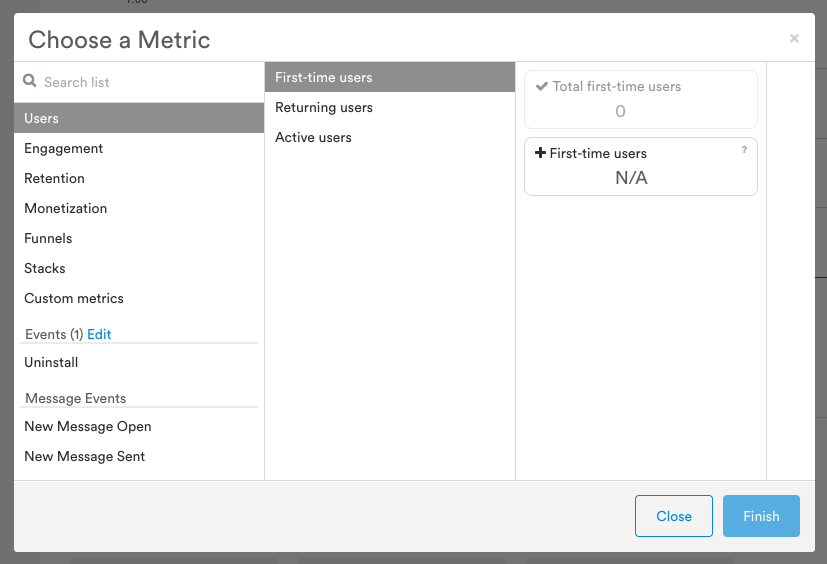 Click the + Metric tile in Analytics to reveal the Choose a Metric window.